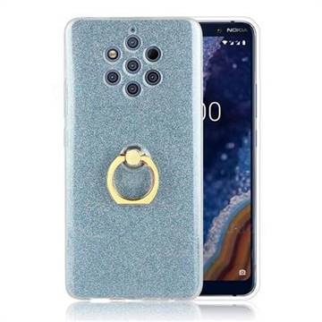 Luxury Soft TPU Glitter Back Ring Cover with 360 Rotate Finger Holder Buckle for Nokia 9 - Blue