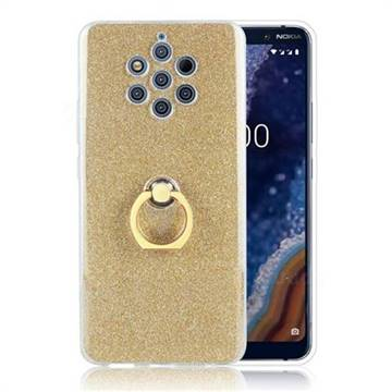 Luxury Soft TPU Glitter Back Ring Cover with 360 Rotate Finger Holder Buckle for Nokia 9 - Golden