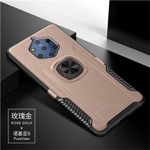 Knight Armor Anti Drop PC + Silicone Invisible Ring Holder Phone Cover for Nokia 9 - Rose Gold