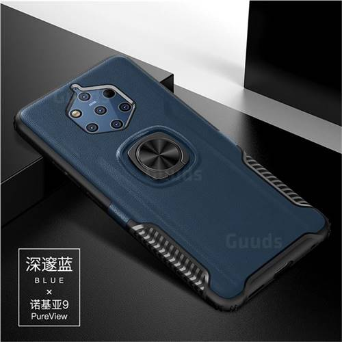 Knight Armor Anti Drop PC + Silicone Invisible Ring Holder Phone Cover for Nokia 9 - Sapphire