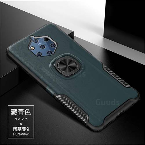 Knight Armor Anti Drop PC + Silicone Invisible Ring Holder Phone Cover for Nokia 9 - Navy