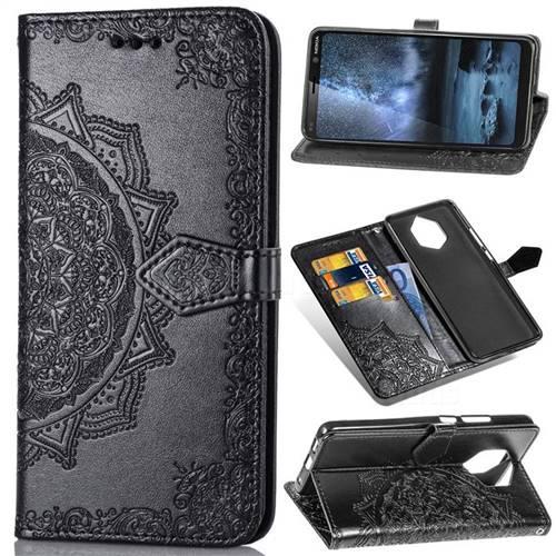 Embossing Imprint Mandala Flower Leather Wallet Case for Nokia 9 - Black