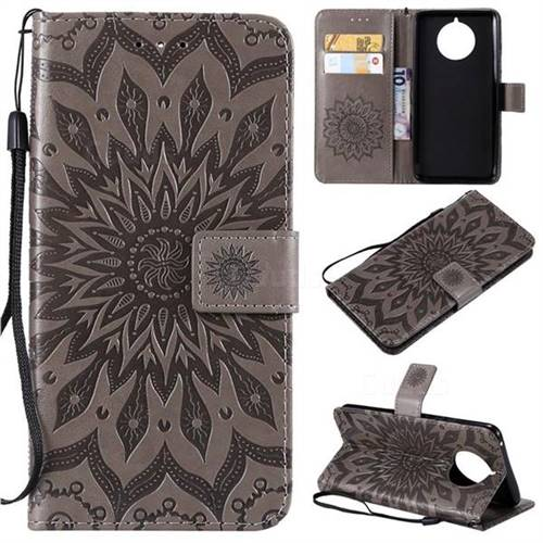 Embossing Sunflower Leather Wallet Case for Nokia 9 PureView - Gray