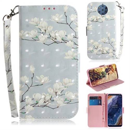 Magnolia Flower 3D Painted Leather Wallet Phone Case for Nokia 9 PureView