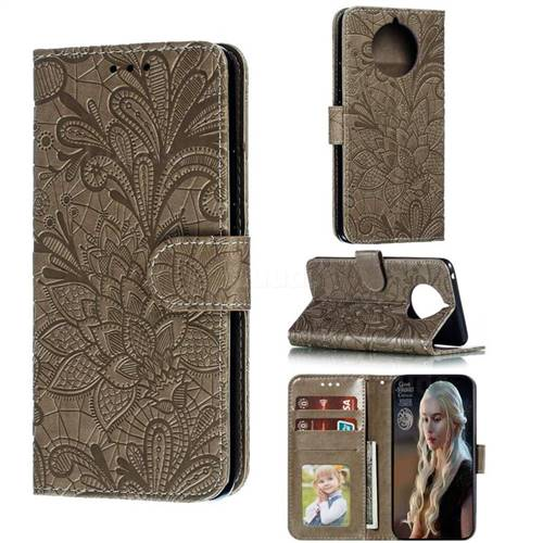 Intricate Embossing Lace Jasmine Flower Leather Wallet Case for Nokia 9 PureView - Gray