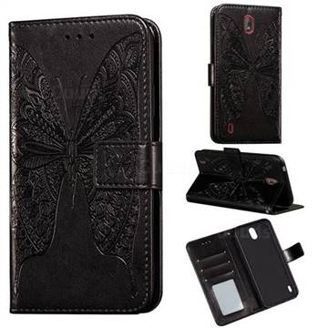 Intricate Embossing Vivid Butterfly Leather Wallet Case for Nokia C1 - Black