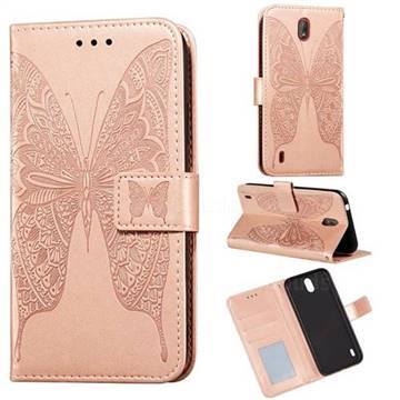 Intricate Embossing Vivid Butterfly Leather Wallet Case for Nokia C1 - Rose Gold