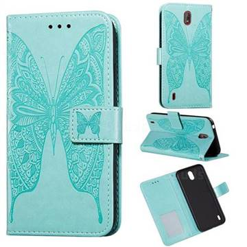 Intricate Embossing Vivid Butterfly Leather Wallet Case for Nokia C1 - Green