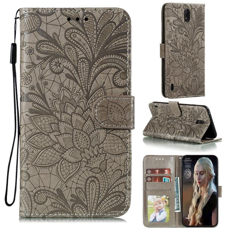 Intricate Embossing Lace Jasmine Flower Leather Wallet Case for Nokia C1 - Gray