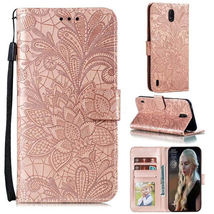 Intricate Embossing Lace Jasmine Flower Leather Wallet Case for Nokia C1 - Rose Gold