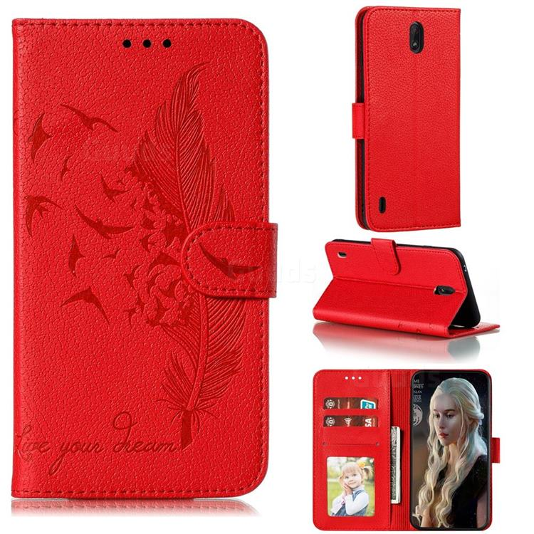 Intricate Embossing Lychee Feather Bird Leather Wallet Case for Nokia C1 - Red
