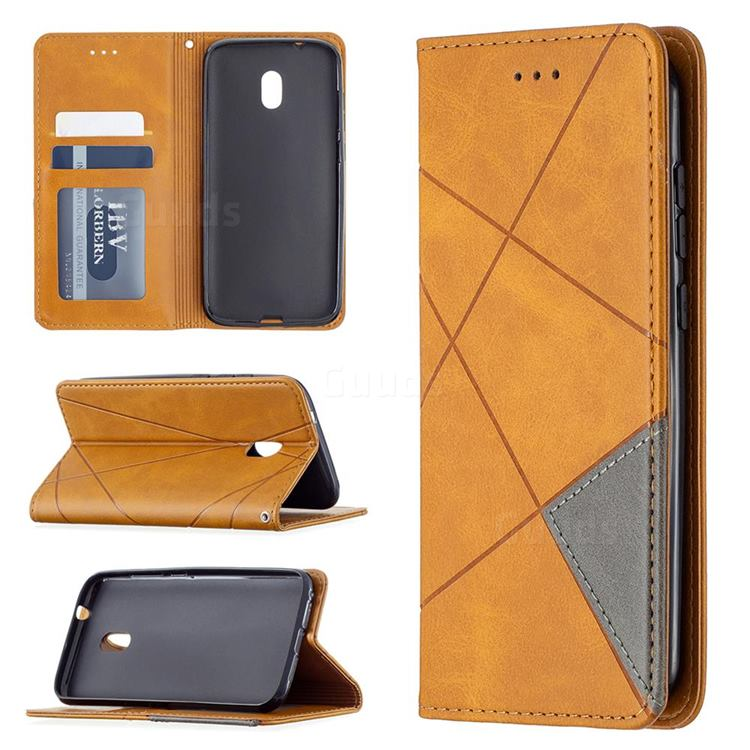 Prismatic Slim Magnetic Sucking Stitching Wallet Flip Cover for Nokia C1 Plus - Yellow