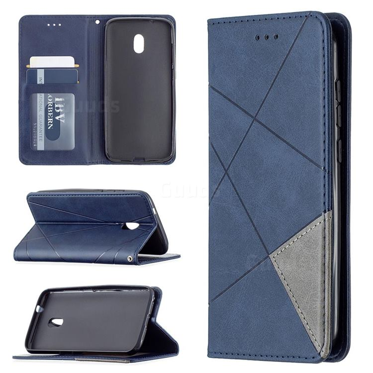 Prismatic Slim Magnetic Sucking Stitching Wallet Flip Cover for Nokia C1 Plus - Blue