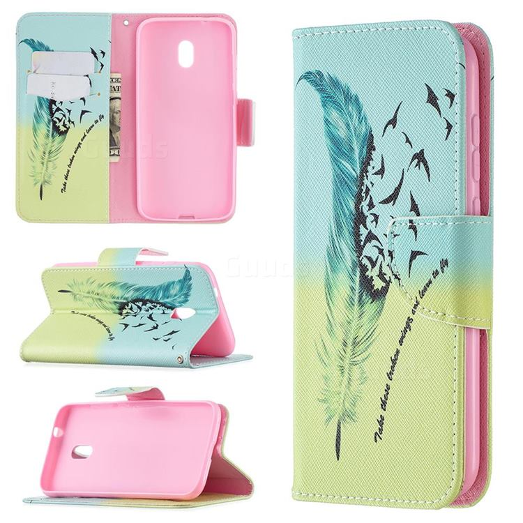 Feather Bird Leather Wallet Case for Nokia C1 Plus
