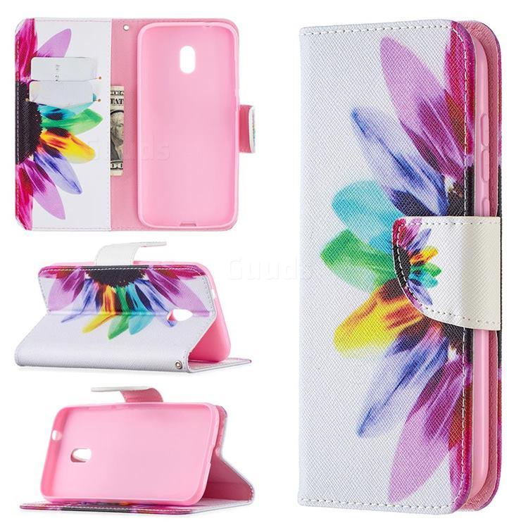 Seven-color Flowers Leather Wallet Case for Nokia C1 Plus