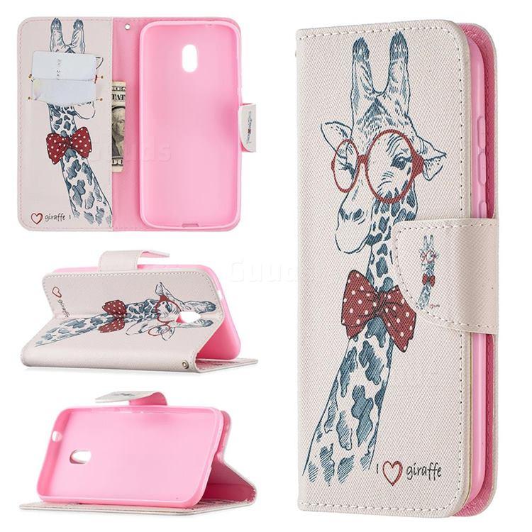 Glasses Giraffe Leather Wallet Case for Nokia C1 Plus