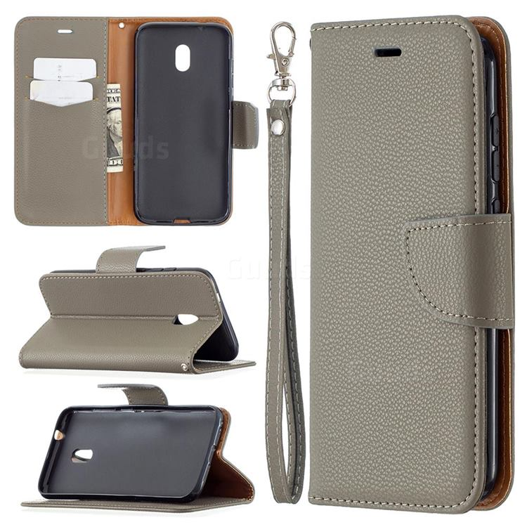 Classic Luxury Litchi Leather Phone Wallet Case for Nokia C1 Plus - Gray