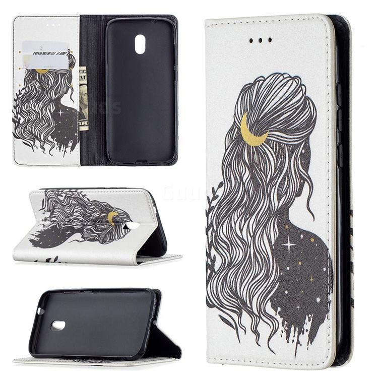 Girl with Long Hair Slim Magnetic Attraction Wallet Flip Cover for Nokia C1 Plus