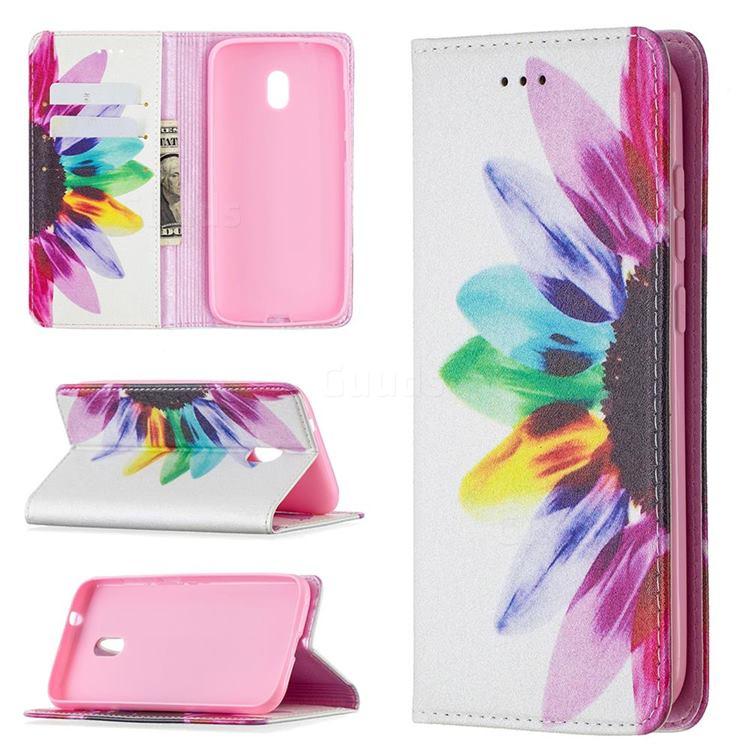 Sun Flower Slim Magnetic Attraction Wallet Flip Cover for Nokia C1 Plus