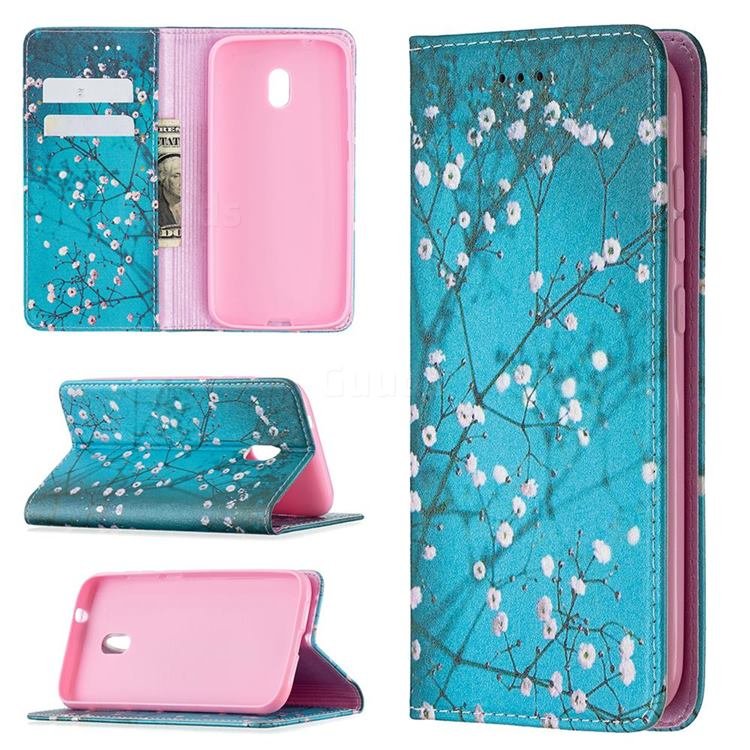 Plum Blossom Slim Magnetic Attraction Wallet Flip Cover for Nokia C1 Plus