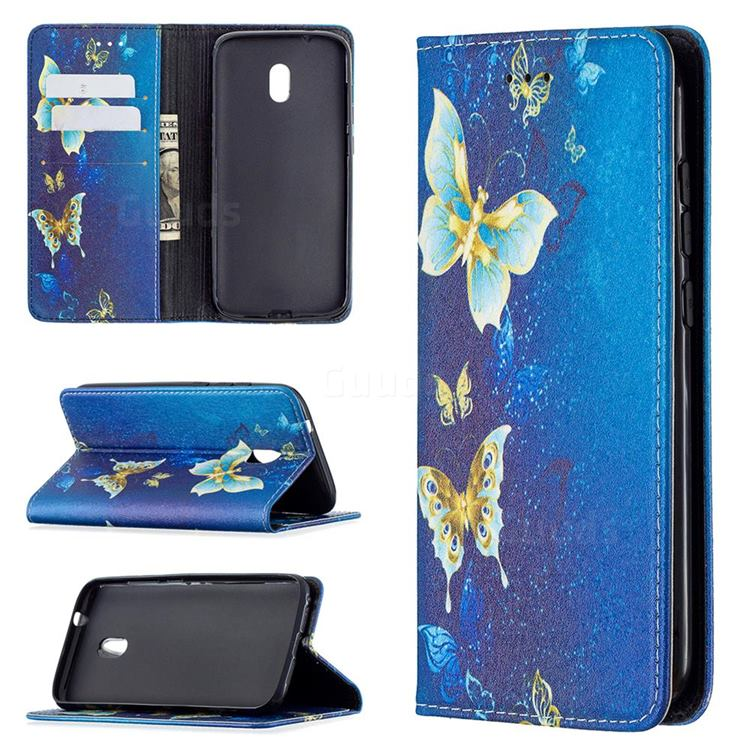Gold Butterfly Slim Magnetic Attraction Wallet Flip Cover for Nokia C1 Plus