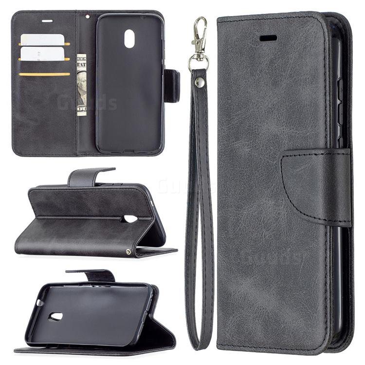 Classic Sheepskin PU Leather Phone Wallet Case for Nokia C1 Plus - Black