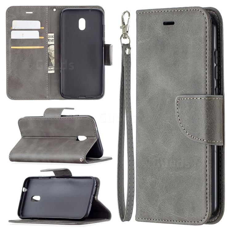 Classic Sheepskin PU Leather Phone Wallet Case for Nokia C1 Plus - Gray