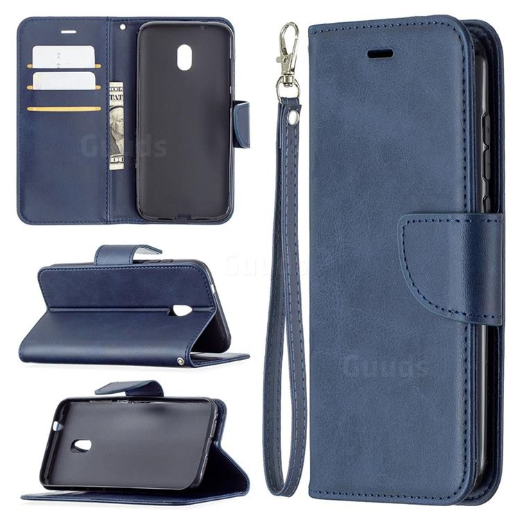 Classic Sheepskin PU Leather Phone Wallet Case for Nokia C1 Plus - Blue