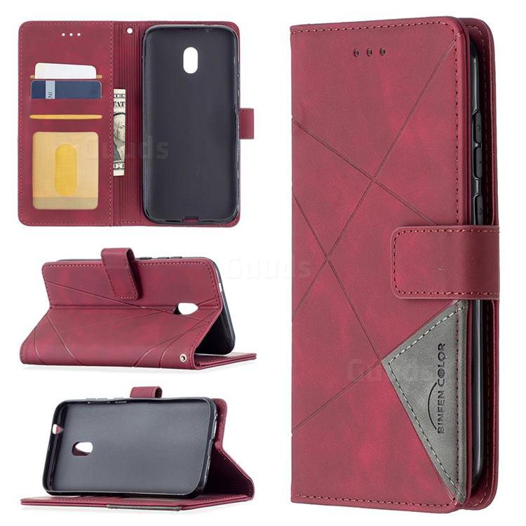 Binfen Color BF05 Prismatic Slim Wallet Flip Cover for Nokia C1 Plus - Red