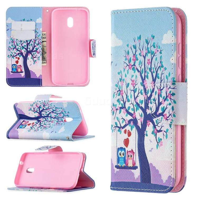 Tree and Owls Leather Wallet Case for Nokia C1 Plus