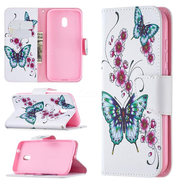 Peach Butterflies Leather Wallet Case for Nokia C1 Plus