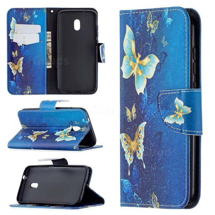 Golden Butterflies Leather Wallet Case for Nokia C1 Plus