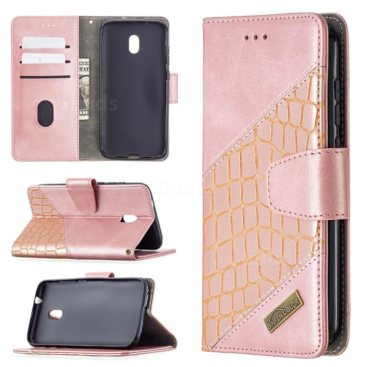 BinfenColor BF04 Color Block Stitching Crocodile Leather Case Cover for Nokia C1 Plus - Rose Gold