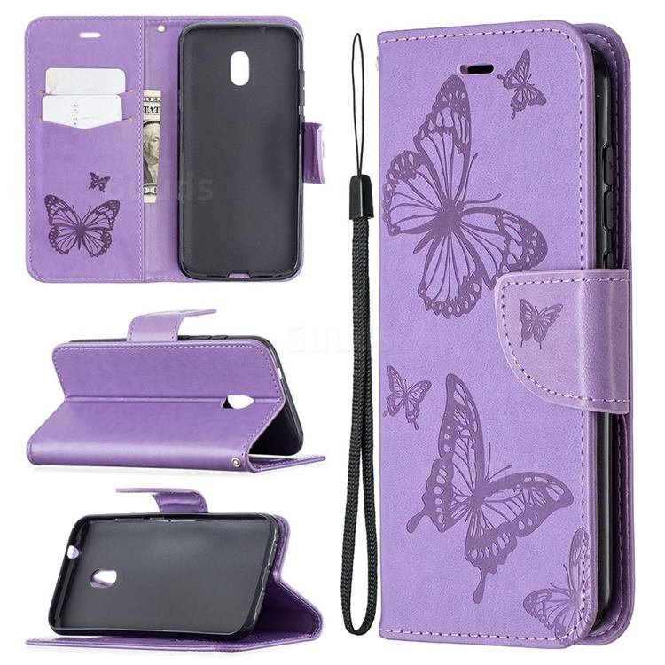 Embossing Double Butterfly Leather Wallet Case for Nokia C1 Plus - Purple