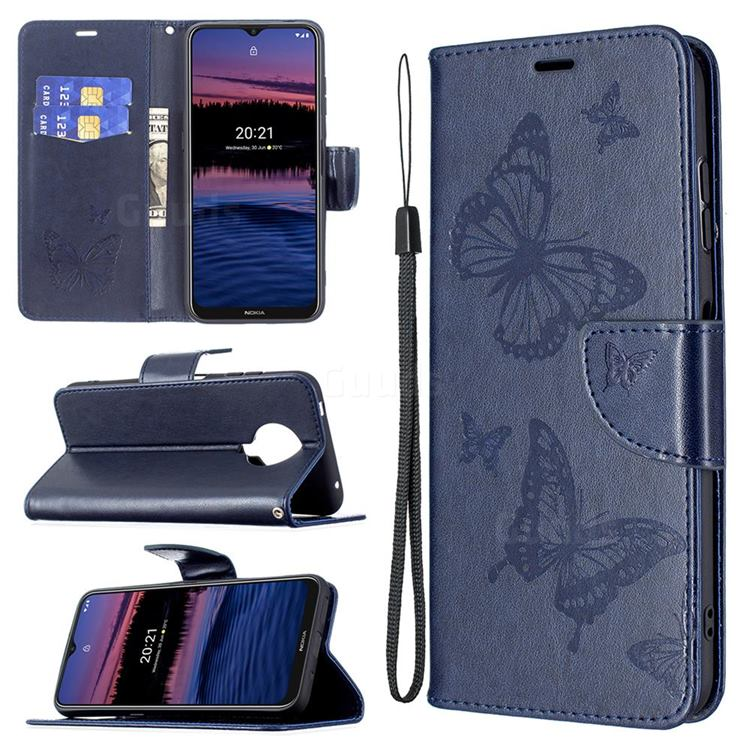 Embossing Double Butterfly Leather Wallet Case for Nokia G20 - Dark Blue