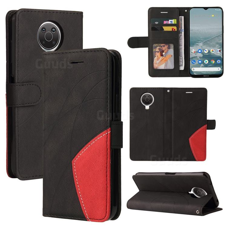 Luxury Two-color Stitching Leather Wallet Case Cover for Nokia G20 - Black