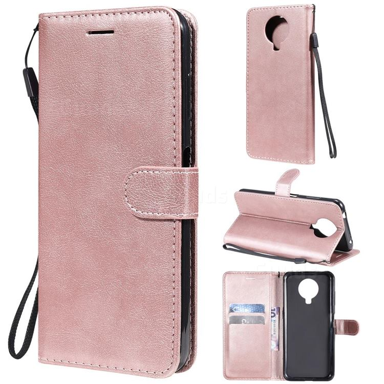 Retro Greek Classic Smooth PU Leather Wallet Phone Case for Nokia G20 - Rose Gold