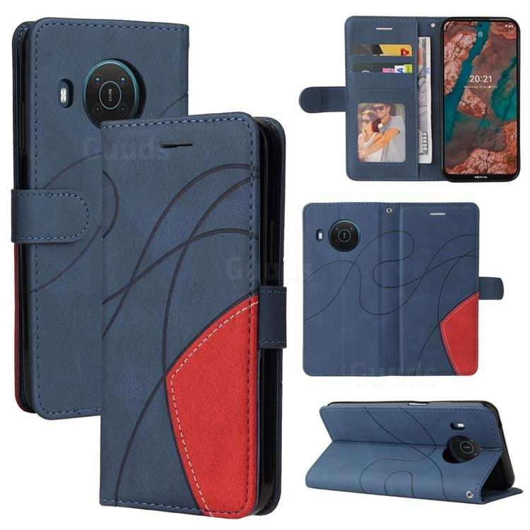 Luxury Two-color Stitching Leather Wallet Case Cover for Nokia X10 - Blue