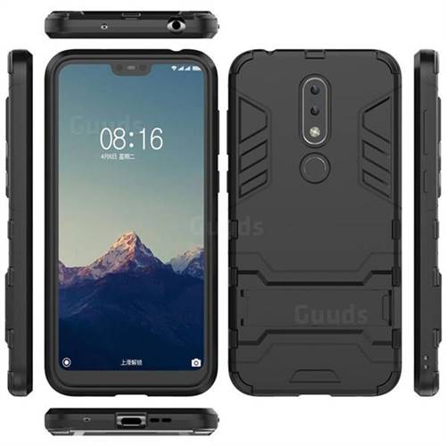 new style be7dd 9f802 Armor Premium Tactical Grip Kickstand Shockproof Dual Layer Rugged Hard  Cover for Nokia 6.1 Plus (Nokia X6) - Black