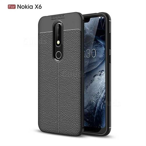wholesale dealer 96680 78db7 Luxury Auto Focus Litchi Texture Silicone TPU Back Cover for Nokia 6.1 Plus  (Nokia X6) - Black - Back Cover - Guuds