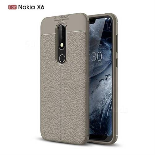 finest selection 094bd 1c1fe Luxury Auto Focus Litchi Texture Silicone TPU Back Cover for Nokia 6.1 Plus  (Nokia X6) - Gray