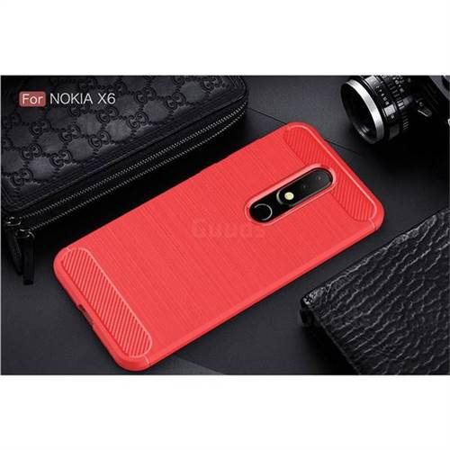 the best attitude 591cb f78e6 Luxury Carbon Fiber Brushed Wire Drawing Silicone TPU Back Cover for Nokia  6.1 Plus (Nokia X6) - Red