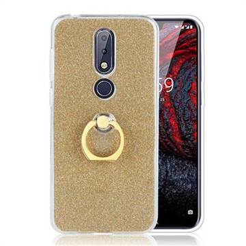 Luxury Soft TPU Glitter Back Ring Cover with 360 Rotate Finger Holder Buckle for Nokia 6.1 Plus (Nokia X6) - Golden