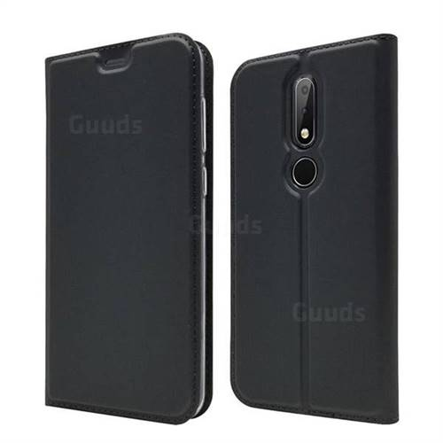 Ultra Slim Card Magnetic Automatic Suction Leather Wallet Case for Nokia 6.1 Plus (Nokia X6) - Star Grey