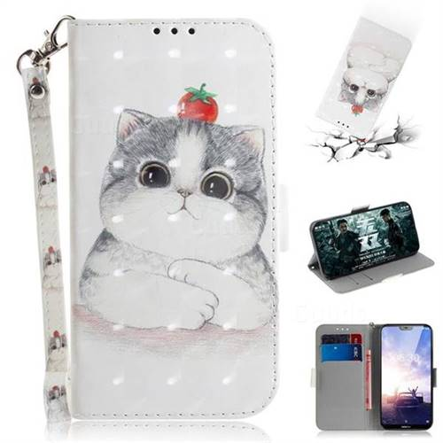 Cute Tomato Cat 3D Painted Leather Wallet Phone Case for Nokia 6.1 Plus (Nokia X6)