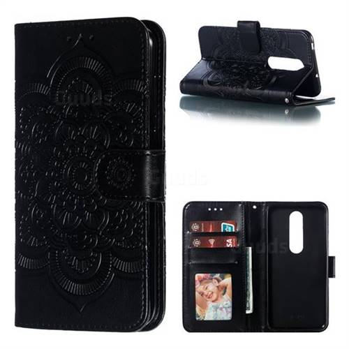 Intricate Embossing Datura Solar Leather Wallet Case for Nokia 6.1 Plus (Nokia X6) - Black