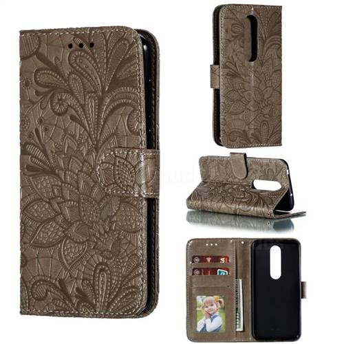 Intricate Embossing Lace Jasmine Flower Leather Wallet Case for Nokia 6.1 Plus (Nokia X6) - Gray