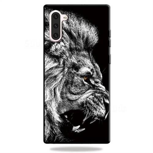 Lion 3D Embossed Relief Black TPU Cell Phone Back Cover for Samsung Galaxy Note 10 (6.28 inch)