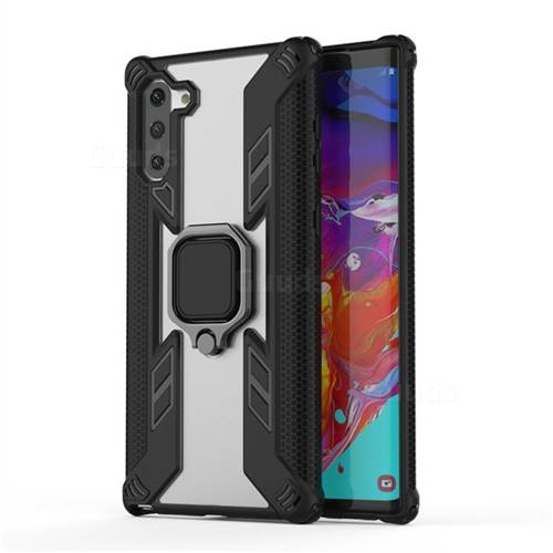 Predator Armor Metal Ring Grip Shockproof Dual Layer Rugged Hard Cover for Samsung Galaxy Note 10 (6.28 inch) / Note10 5G - Black