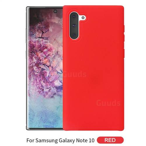 Howmak Slim Liquid Silicone Rubber Shockproof Phone Case Cover for Samsung Galaxy Note 10 (6.28 inch) / Note10 5G - Red